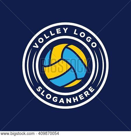 Vintage Badge Volley Balll Logo Design Vector