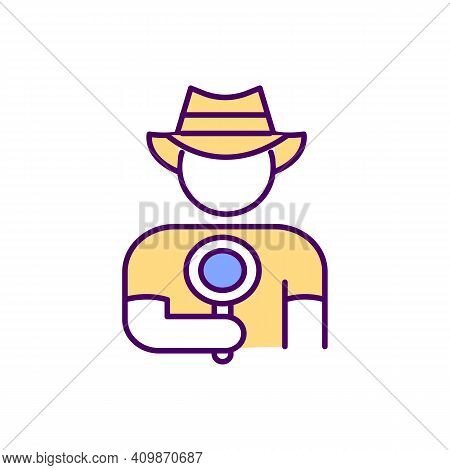 Man In A Cowboy Hat Holds A Agnifying Glass His Hand Rgb Color Icon. Search For Information. Thirst