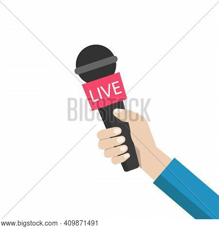 Journalist Hand Holding Microphones Performing Interview. Illustration Of Microphone For News, Broad