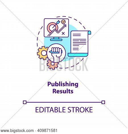 Publishing Results Concept Icon. Disclosure Of Research Results Idea Thin Line Illustration. Publica