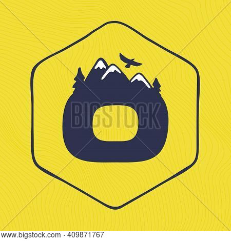 O Letter Logo With Mountains Peaks And Trees On A Landscape Line Pattern. Adventure And Outdoor Vint