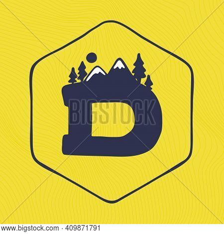 D Letter Logo With Mountains Peaks And Trees On A Landscape Line Pattern. Adventure And Outdoor Vint