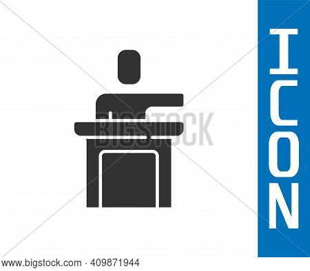 Grey Speaker Icon Isolated On White Background. Orator Speaking From Tribune. Public Speech. Person
