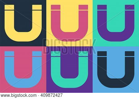 Pop Art Magnet Icon Isolated On Color Background. Horseshoe Magnet, Magnetism, Magnetize, Attraction