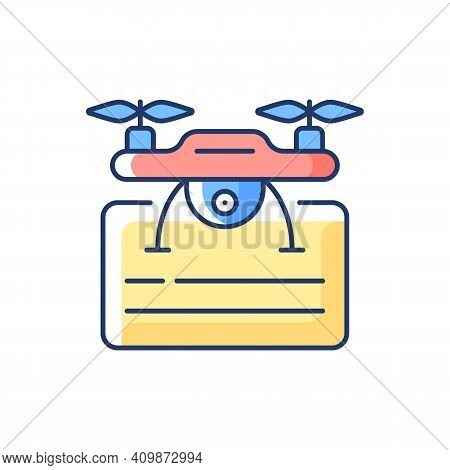 Drone License Rgb Color Icon. Issuance Of Permits For Drone Flights. Drones Company Management Impro