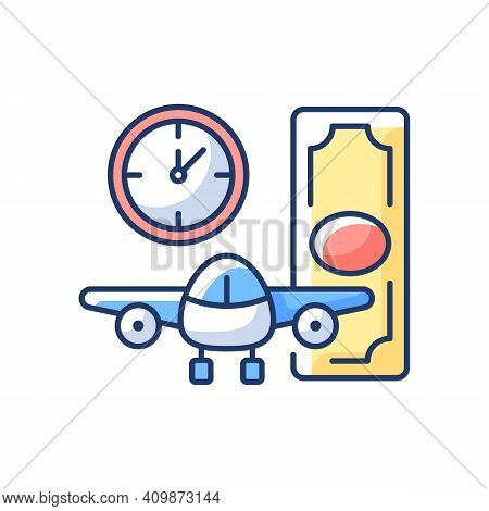 Aircraft Rental Rgb Color Icon. Civil Aviation. Ability To Get Plane For Rent. Light Aircraft. Airli