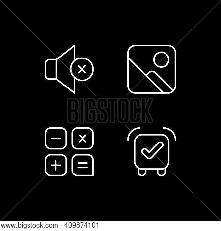 Smartphone Interface White Linear Icons Set For Dark Theme. Silent Mode Setting. Photo Gallery. Nigh