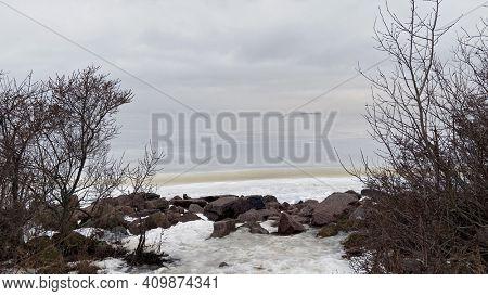 Coast of the frozen Gulf of Finland, winter St. Petersburg