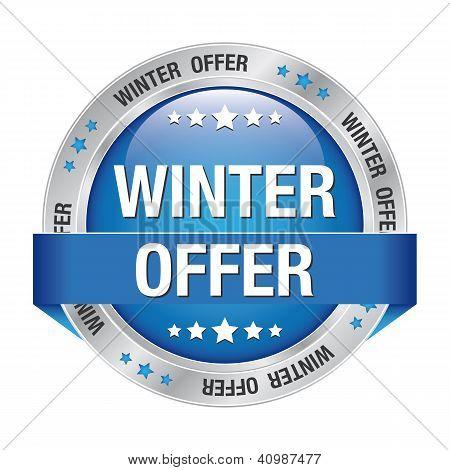 Winter Offer Button Blue Silver