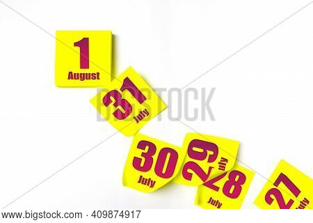 August 1st . Day 1 Of Month, Calendar Date. Many Yellow Sheet Of The Calendar. Summer Month, Day Of