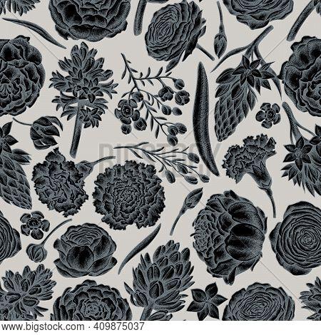 Seamless Pattern With Hand Drawn Stylized Peony, Carnation, Ranunculus, Wax Flower, Ornithogalum, Hy