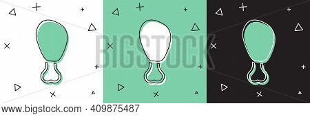 Set Chicken Leg Icon Isolated On White And Green, Black Background. Chicken Drumstick. Vector