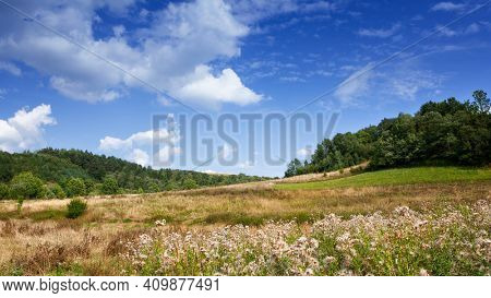 Green mountain landscape and cloudy sky
