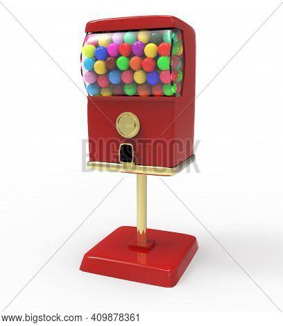 Red Bubble Gum Ball Vending Machine With Colorful Gum Balls. 3d Illustration