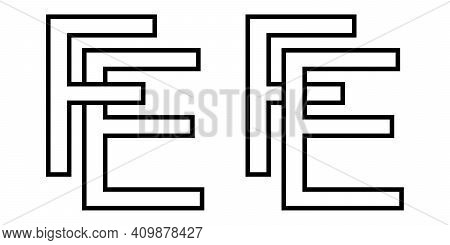 Logo Sign Fe Ef Icon Sign Interlaced Letters E, F Vector Logo Ef, Fe First Capital Letters Pattern A