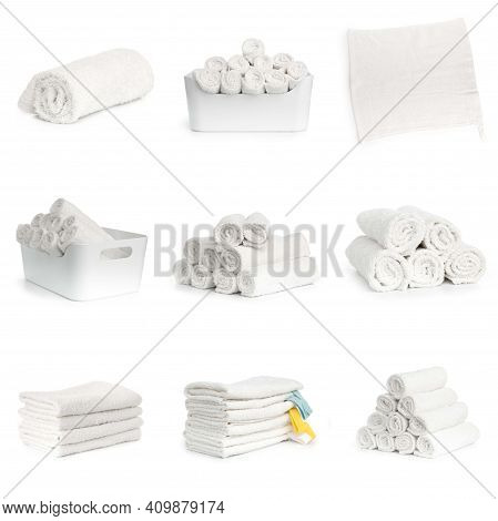 Set Of White Beach Towels Isolated On White Background