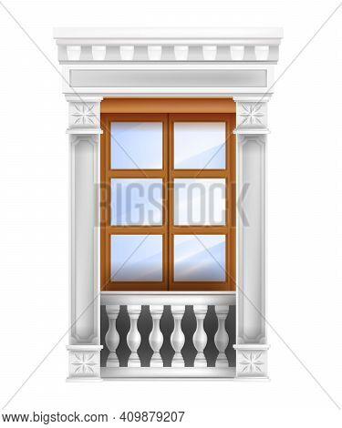 Classic Vector Palace Wooden Double Door With Balustrade, Glass Window, Marble Pillars Isolated On W