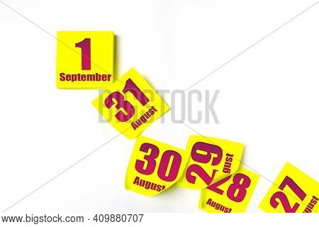 September 1st . Day 1 Of Month, Calendar Date. Many Yellow Sheet Of The Calendar. Autumn Month, Day