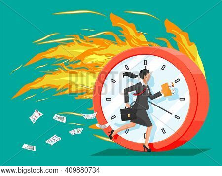 Big Burning Clock And Businesswoman Is Fast Running With Waving Necktie And Briefcase. Business Woma