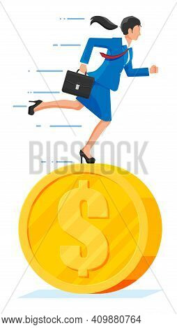 Businesswoman Is Running On Dollar Coin. Annual Revenue, Financial Investment, Savings, Bank Deposit