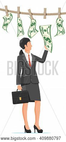 Businesswoman Trying Get Wet Dollar Bills Hanging On Rope. Money Laundering. Dirty Money. Hidden Wag