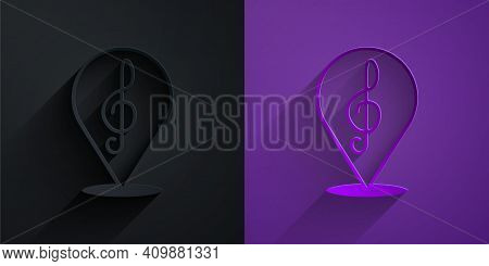 Paper Cut Treble Clef Icon Isolated On Black On Purple Background. Paper Art Style. Vector
