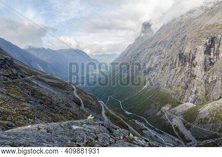 Trollstigen (troll's Footpath), Norway In Fall Time