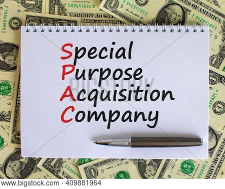 Spac, Special Purpose Acquisition Company Symbol. White Note, Words Spac On Beautiful White Backgrou