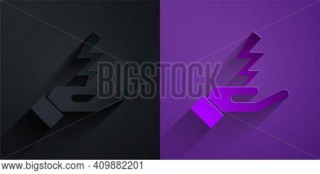 Paper Cut Zeus Icon Isolated On Black On Purple Background. Greek God. God Of Lightning. Paper Art S