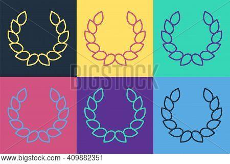 Pop Art Laurel Wreath Icon Isolated On Color Background. Triumph Symbol. Vector