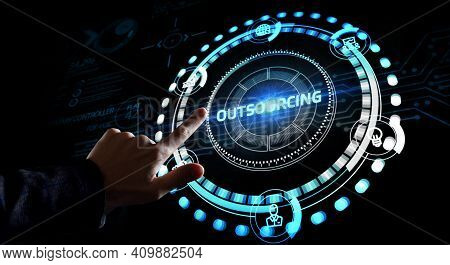 Business, Technology, Internet And Network Concept. Outsourcing Human Resources.