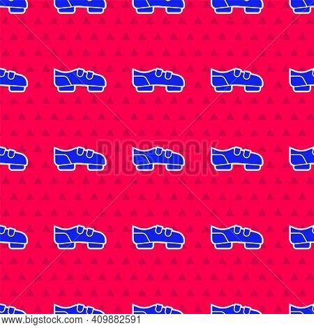 Blue Triathlon Cycling Shoes Icon Isolated Seamless Pattern On Red Background. Sport Shoes, Bicycle