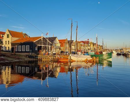 Old Harbor Of The Fishing Village Urk In Flevoland Netherlands, Beautiful Spring Day At The Former I
