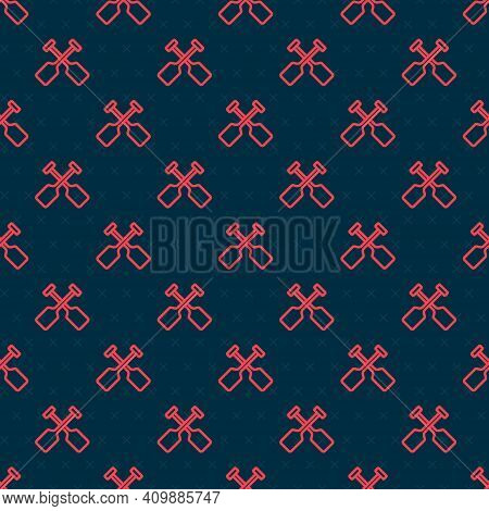 Red Line Paddle Icon Isolated Seamless Pattern On Black Background. Paddle Boat Oars. Vector