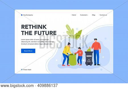 Rethink Future Landing Page Collect Trash In Bin. Illustration Family Collect In Basket, Junk Dustbi