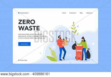 Zero Waste Landing Page, E-waste Bin Vector. Illustration Clean Environment And Ecology, Page Recycl