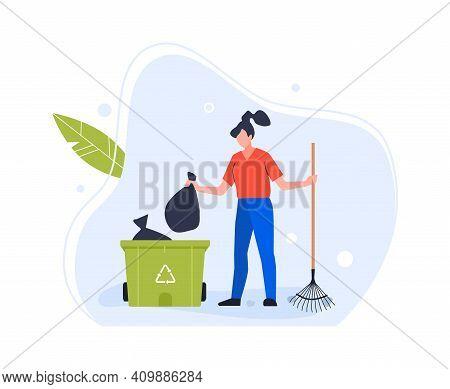 Woman Throw Trash In Garbage Recycle Bin. Vector Bin Trash, Woman And Waste Garbage, Ecology Recycli
