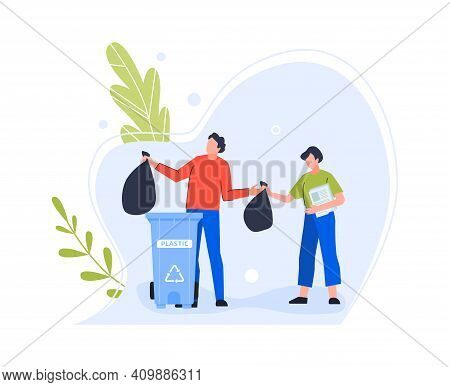 Plastic Garbage Bin, Woman Character And Man Trow In Recycling Bin Container, Illustration Trash Thr