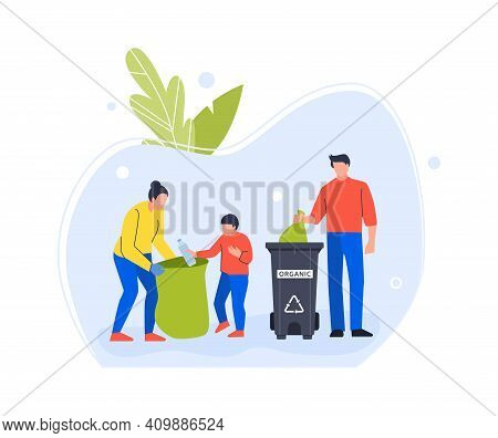 People Family Volunteers Collect Plastic And Organic Garbage. Trash Organic Container To Recycling,