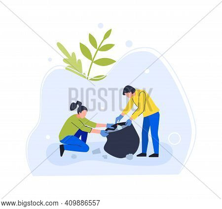 People Clean Environment From Garbage, Collect In Bag. Vector Volunteer Collect Garbage, Ecology Cle