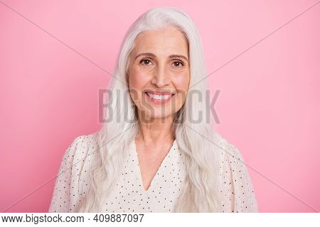 Portrait Of Attractive Cheerful Grey-haired Woman Wearing Pinup Blouse Formalwear Isolated Over Pink