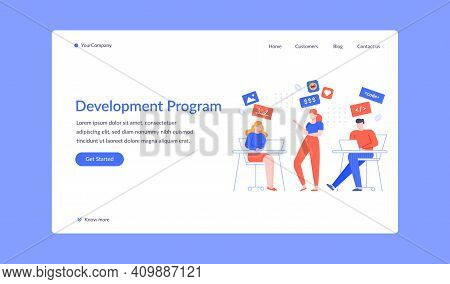 Team Development Program Project Landing Page. Project Development, Web Team Programming And Develop