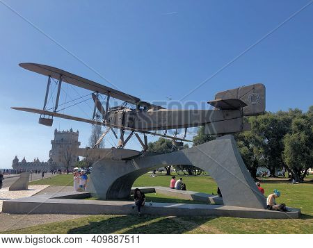 Artificial Airplane Exhibited In A Park In Santa Maria De Belem Near Lisbon In Portugal 27.3.2019