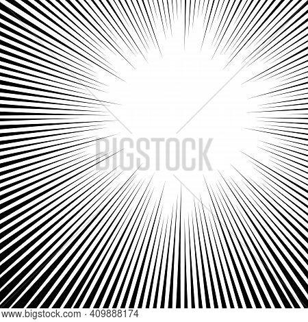 White Black Radial Backdrop, Art Explosion Sunburst, Comic Backdrop Ray Texture. Monochrome Backdrop