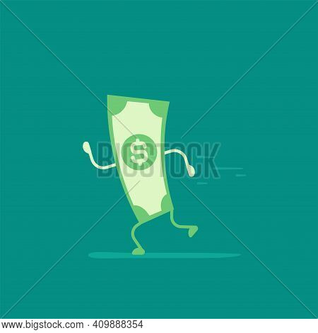 Green Dollar Banknote With Legs And Hands Running. Flat Vector Illustration On Blue. Chasing Money.
