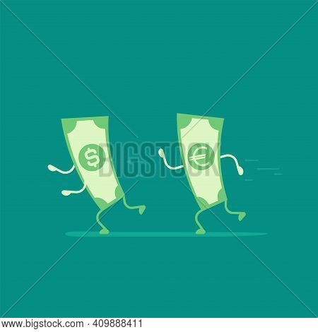 Green Euro Banknote Chasing Dollar. Money Running. Flat Vector Illustration On Blue. Currency Rate O