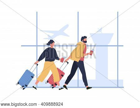 Couple Hurrying To Boarding Flight, Run With Tickets And Luggage. Woman And Man Hurry To Flight With