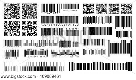 Bar Code. Product Barcodes And Qr Codes For Digital Laser Scanning On Packaging. Isolated Vector Tem