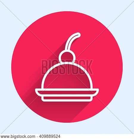 White Line Cherry Cheesecake Slice With Fruit Topping Icon Isolated With Long Shadow. Red Circle But