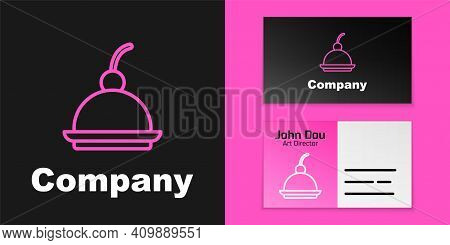 Pink Line Cherry Cheesecake Slice With Fruit Topping Icon Isolated On Black Background. Logo Design